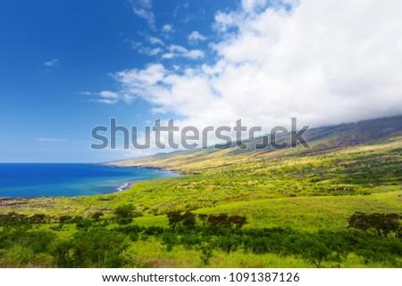 Beautiful landscape of South Maui. The backside of Haleakala Crater on the island of Maui, Hawaii, USA #1091387126