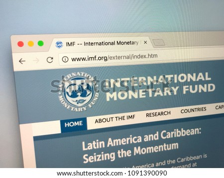Amsterdam, Netherlands - May 15, 2018: Official homepage of The International Monetary Fund (IMF) is an international organization #1091390090