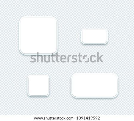 Vector 3d Blank White Paper Layered Square Shapes Set