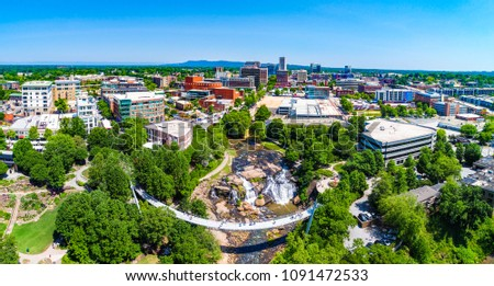 Drone city aerial image of downtown Greenville South Carolina SC #1091472533