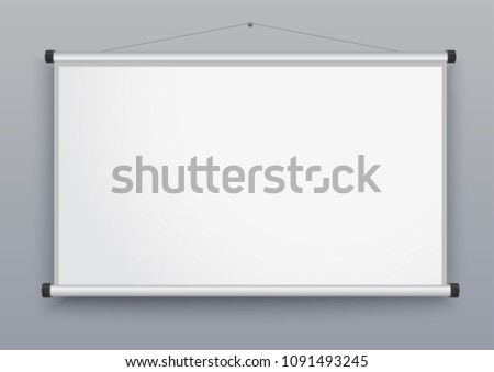 Presentation screen, blank whiteboard, Wall Projector for seminar, Empty board for conference, Meeting Display. Vector #1091493245