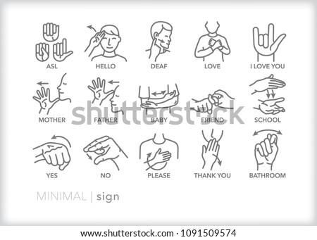 Set of 15 minimal American sign language icons showing basic words and phrases for deaf people to communicate through hand gestures
