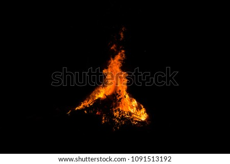 Bonfire on black background light, The collection of fire. Suitable for use in the design, editing, decoration, use on both print and website. #1091513192