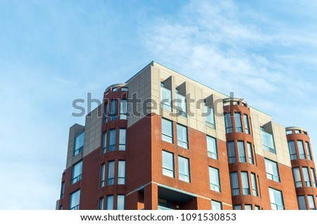 Montreal, Canada - May 11, 2018: Modern condo buildings with huge windows in Montreal, Canada. #1091530853