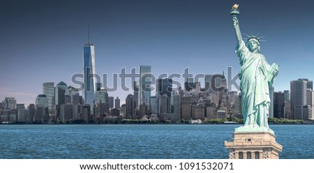 The Statue of Liberty with high-rise building in Lower Manhattan background, Landmarks of New York City, USA #1091532071