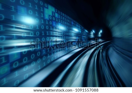 High speed with binary code numbers on motion blurred path or track, speed and faster digital matrix technology information concept. #1091557088