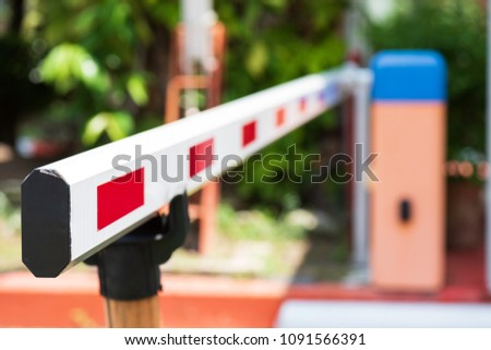 Close up Barrier Gate Automatic system for security. Automatic entry system. Royalty-Free Stock Photo #1091566391