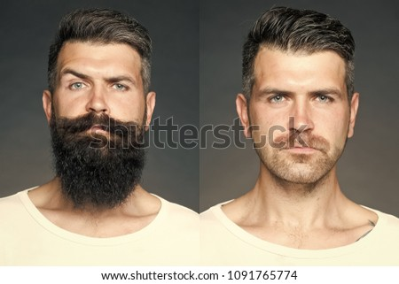 Collage portrait of one handsome man on left  bristle haired on right unshaved with long beard and moustache looking forward on grey background, horizontal picture