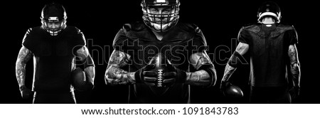 Sport concept. American football sportsman player on black background. Sport concept. #1091843783