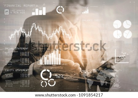 Financial report data of business operations (balance sheet and income statement and diagram) as Fintech concept.Double exposure of success businessman open his hand with London building. #1091854217