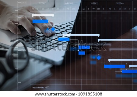 Project manager working and update tasks with milestones progress planning and Gantt chart scheduling diagram.business man working on laptop computer on wooden desk as concept.
