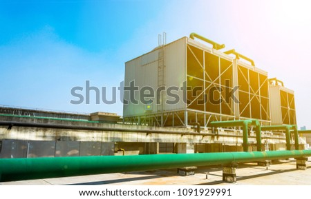 Sets of cooling towers in data center building. #1091929991