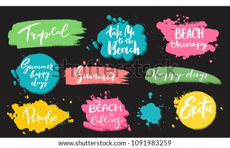 Set of universal hand drawn paint background. Summer quotes. Speech bubble. Dirty artistic design elements, boxes, frames for text. Royalty-Free Stock Photo #1091983259