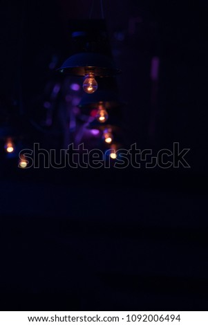 scene, stage light with colored spotlights and smoke #1092006494