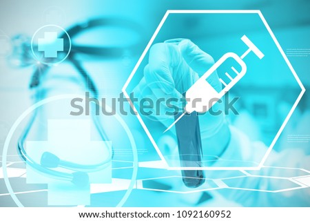Composite image of scientist holding a test tube #1092160952