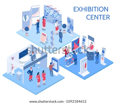 Exhibition center isometric compositions with people looking at expo stands  in gallery hall and communicating with staff vector illustration Royalty-Free Stock Photo #1092184652