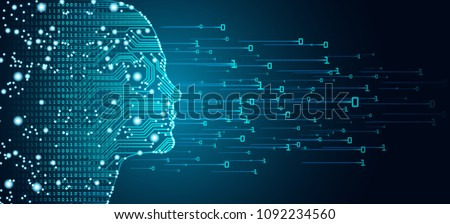 Big data and artificial intelligence concept. Machine learning and cyber mind domination concept in form of women face outline outline with circuit board and binary data flow on blue background. Royalty-Free Stock Photo #1092234560