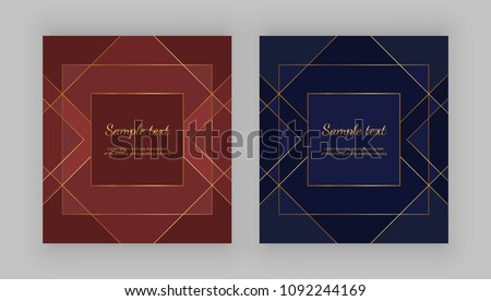 Luxury geometric design. Golden lines on the red, blue background. Modern templates for product package, menu, banner, card, flyer, invitation, brochure, print advertising, cover, business, layout  #1092244169