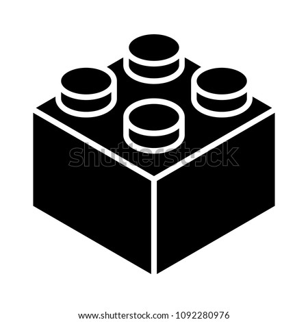 Toy brick block or piece flat vector icon for toy apps and websites