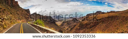 ROUTE 66 - OATES, SITGREAVES PASS IN BLACK MOUNTAINS, ARIZONA / CALIFORNIA - PANORAMA - AERIAL VIEW. DRONE SHOT. Royalty-Free Stock Photo #1092353336