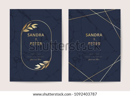 Wedding invitation cards with indigo marble texture background and gold geometric  line design vector. #1092403787
