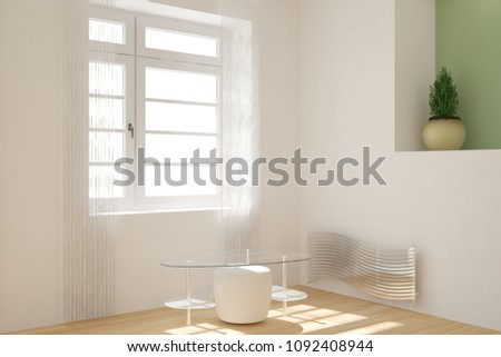 Modern room with table and flower interior design. 3D illustration #1092408944