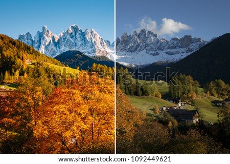 Majestic landscape in Santa Magdalena. Location Funes valley, Dolomiti Alps. Trentino, Italy, Europe. Image before and after. Original or retouch. Photo in half of editing process. Beauty of earth.