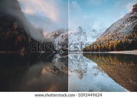 Calm alpine lake Braies. Location Dolomiti, national park Fanes-Sennes-Braies, Italian Alps, Europe. Images before and after. Original or retouch. Photo in half of editing process. Beauty of earth.