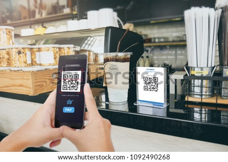 Qr code payment, E wallet , cashless technology concept illustration. Man scanning  tag in Coffee shop accepted generate digital pay without money. #1092490268