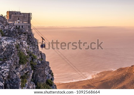 Cape Town at night from top Table Mountain Royalty-Free Stock Photo #1092568664
