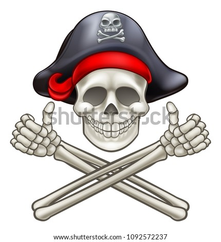 Pirate Jolly Roger skull and crossbones giving a thumbs up