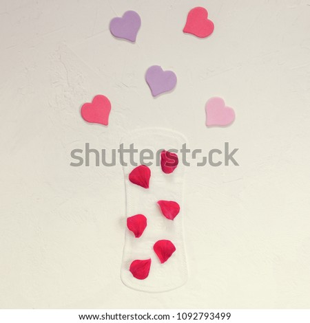 Red petals on a female daily lining and decorative hearts. Close-up. The minimum. Flat lay #1092793499