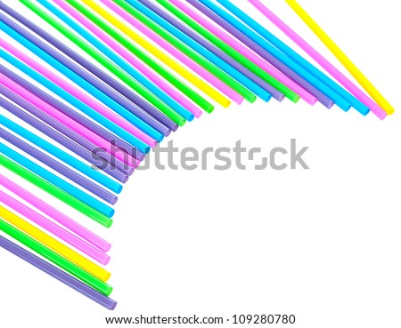 Plastic drinking straws abstract background shape #109280780