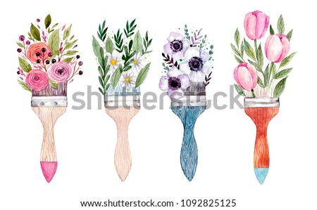 Illustration of brush paint and flowers. Watercolor artistic illustration.