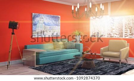 Interior living room. 3d illustration #1092874370
