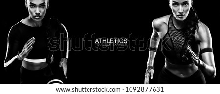 Sport concept. Black and white photo. A strong athletic, women sprinter, running isolated on black, wearing in the sportswear, fitness and sport motivation. Runner concept. Royalty-Free Stock Photo #1092877631