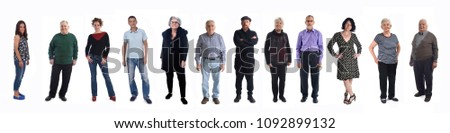 group of people of different ages on white background #1092899132