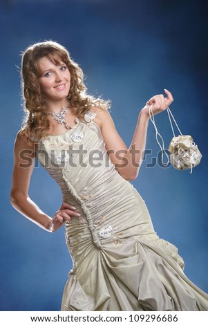 beautiful young girl on a blue background #109296686