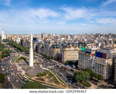 Aerial view of Buenos Aires city with Obelisk and 9 de julio avenue - Buenos Aires, Argentina #1092996467