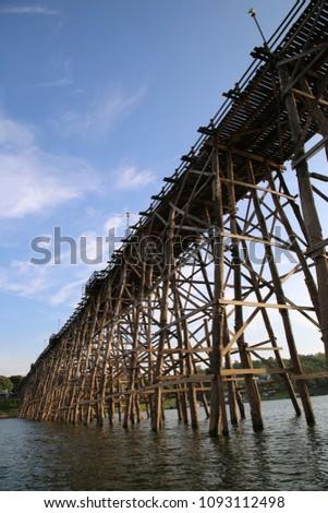 Mon Bridge across 3 river in sangkhla buri, the famous place in kanchanaburi. village of thai-mon.  #1093112498