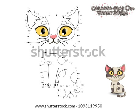 Connect The Dots and Paint Cute Cartoon Cat. Educational Game for Kids. Vector Illustration.