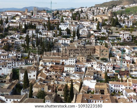 Granada, Spain / Spain - March 2018: View over Granada and Albaicin from Alhambra Palace #1093223180