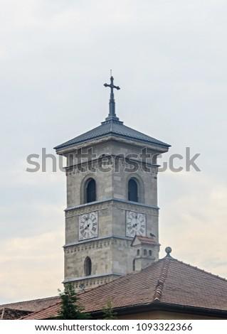 ALBA IULIA, ROMANIA - AUGUST 6, 2017: Citadel fortress Alba Carolina, detail of the church tower. #1093322366
