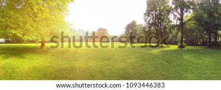 Building land for new construction project on green meadow, plot for construction area Royalty-Free Stock Photo #1093446383