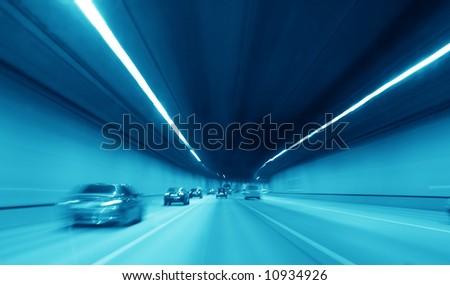 blue night highway tunnel #10934926