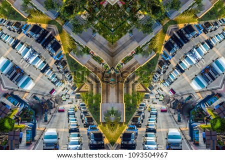 Mirror city - abstract triangle background of cars, buses and other vehicles during heavy traffic. Surreal view of a metropolis. #1093504967