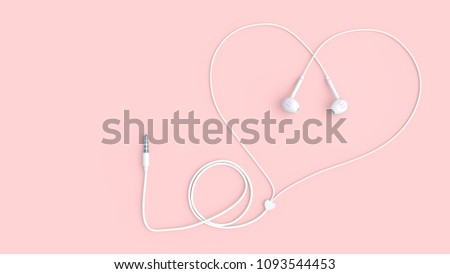 earphones white color wire heart shape with clipping path and copy space for your text, minimal and love concept. 3d render.