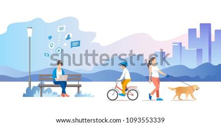 City park. Vector illustration. Royalty-Free Stock Photo #1093553339