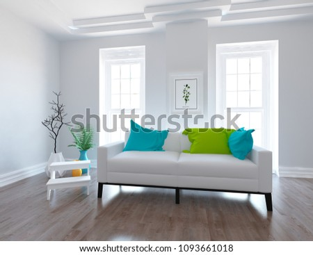 Idea of a white scandinavian living room interior with sofa, vases on the wooden floor and large wall and white landscape in windows. Home nordic interior. 3D illustration #1093661018