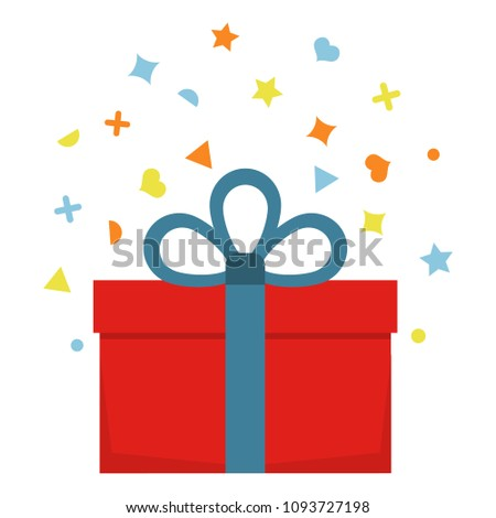 Beautiful cardboard and paper gift box with lid and ribbon.  #1093727198
